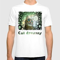 Cat Dreamy Mens Fitted Tee White SMALL
