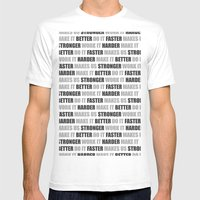 Harder Better Faster Stronger Mens Fitted Tee White SMALL