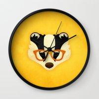 Hipster Badger: Gold Wall Clock