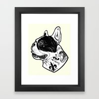 French Bulldog Tattooed Dog Framed Art Print