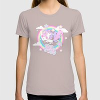 Happy Unicorn Womens Fitted Tee Cinder SMALL