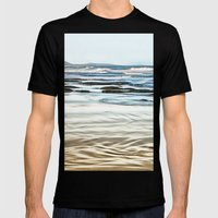 Abstract waves on the beach Mens Fitted Tee Black SMALL