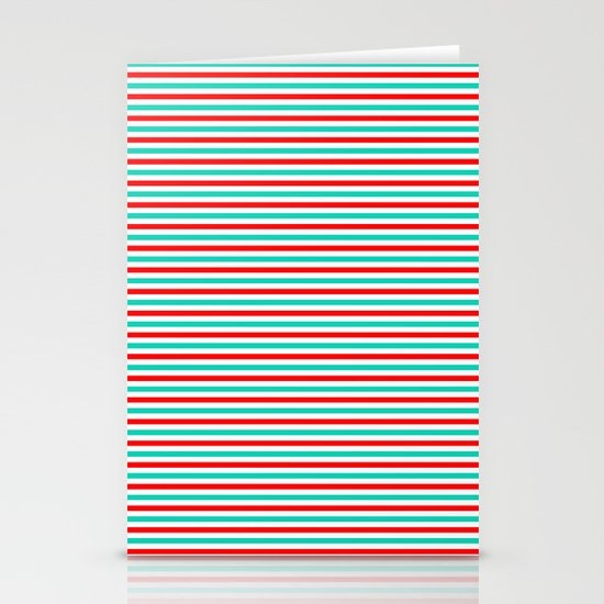 Red and Aqua Stripes Stationery Card