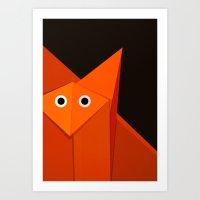 Dark Geometric Cute Origami Fox Art Print