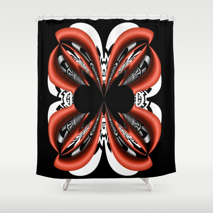 Black, White and Red Abstract 4 Shower Curtain by Bella Mahri-PhotoArt ...