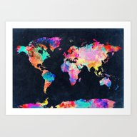 Art Print featuring World Map by Bekim ART