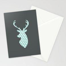 Deer head, art, polka dot, modern, vintage Stationery Cards