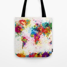 Map Of The World Map Pai… Tote Bag