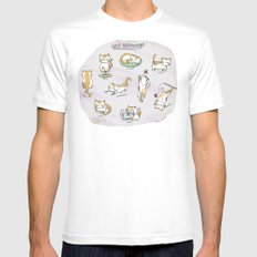 Cat Activities SMALL Mens Fitted Tee White