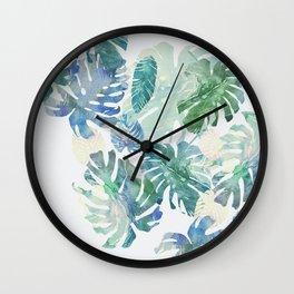 Wall Clock - tropical cold leaves - franciscomffonseca