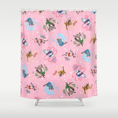 Sailor Kitties Pink Pattern Shower Curtain