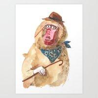 Suave Baboon Art Print