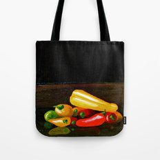 Peppers From a Friend, the painting Tote Bag