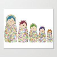 Rainbow Matryoshka Nesting Dolls Canvas Print