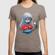 Boxing Cat Womens Fitted Tee Tri-Coffee SMALL
