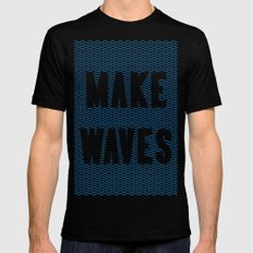 Make Waves SMALL Mens Fitted Tee Black