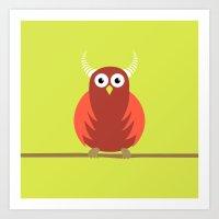 Red Cartoon Horned Owl Art Print