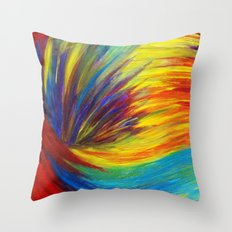 RAINBOW EXPLOSION - Vibrant Smile Happy Colorful Red Bright Blue Sunshine Yellow Abstract Painting  Throw Pillow