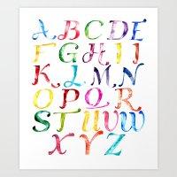 alphabet Art Prints featuring Alphabet by Bridget Davidson
