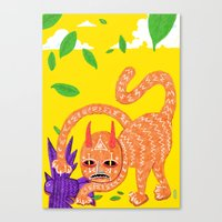 Fox and Hawk, let's be friends Canvas Print