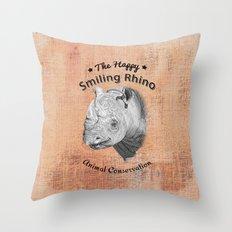 The Happy Smiling Rhino … Throw Pillow
