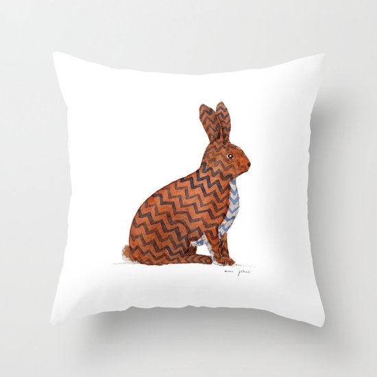 zig zag rabbit Throw Pillow