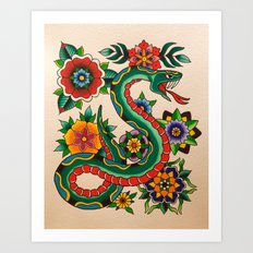 Snake and Flowers Art Print