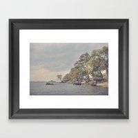 The elephant swim Framed Art Print