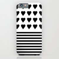 iPhone & iPod Case featuring Heart Stripes Black on White by Project M