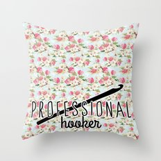 funny crochet vintage floral professional hooker Throw Pillow