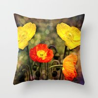 Yellow and Red Poppies Throw Pillow