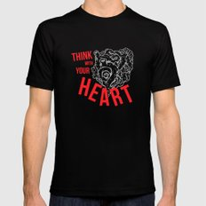 Think With Your Heart SMALL Black Mens Fitted Tee