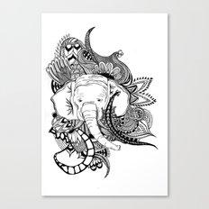 Inking Elephant Canvas Print