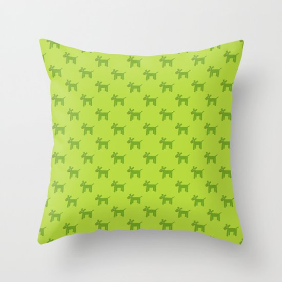 Dogs-Green Throw Pillow