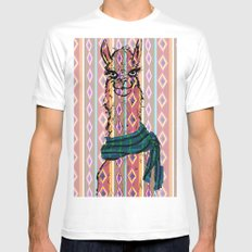 Llama Mix SMALL White Mens Fitted Tee