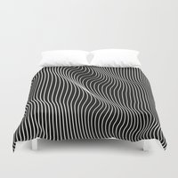 Minimal curves black Duvet Cover