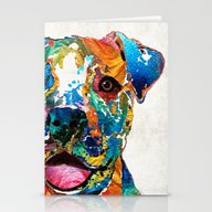 Colorful Dog Pit Bull Ar… Stationery Cards