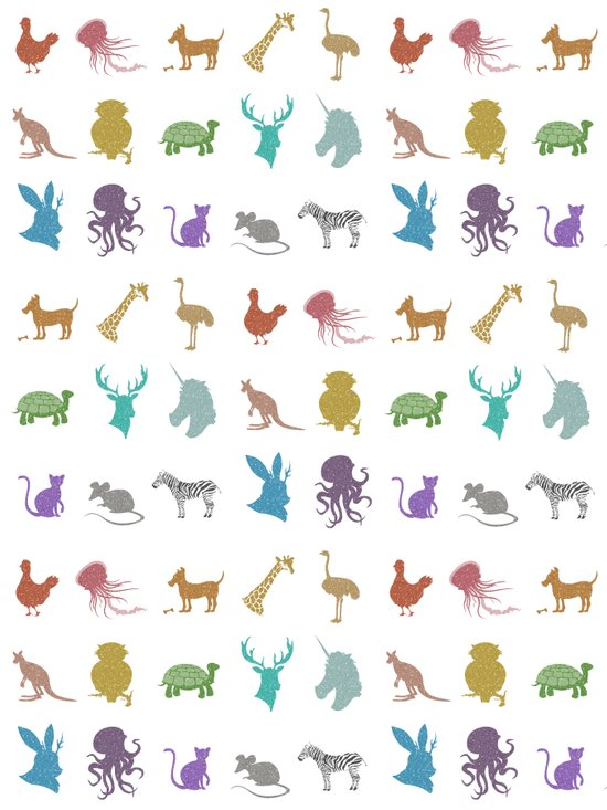 Glitter Animals C Art Print