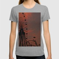 Sundown In Fun Town Womens Fitted Tee Athletic Grey SMALL