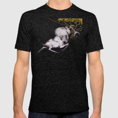 The Stag & His Reflectio… Mens Fitted Tee Tri-Black SMALL