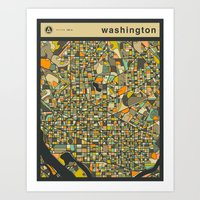 WASHINGTON DC MAP Art Print