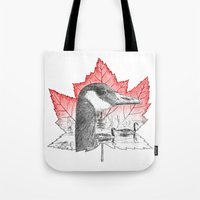 Canada Goose on Maple Leaf (with some red) Tote Bag