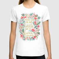 quote T-shirts featuring Little & Fierce on Charcoal by Cat Coquillette