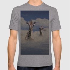 Heads above the Clouds with 3 Giraffes Mens Fitted Tee Athletic Grey SMALL