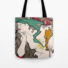 Vintage Alphonse Mucha Poster Girl Tote Bag