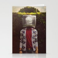 This TV haze sucks me through. I watch the world from the inside Stationery Cards