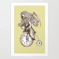 Father Time on a Penny Farthing Art Print