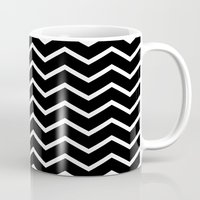 White Chevron On Black Mug