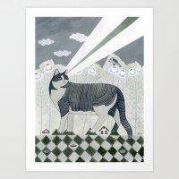 Beaming Cat Art Print