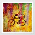 Cat and Bicycle Art Print